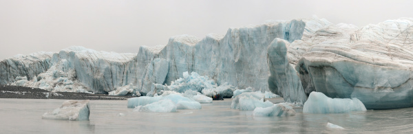 panorama image of glacier face with