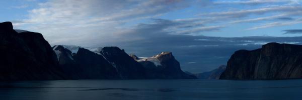 glacier carved mountain range entrance to