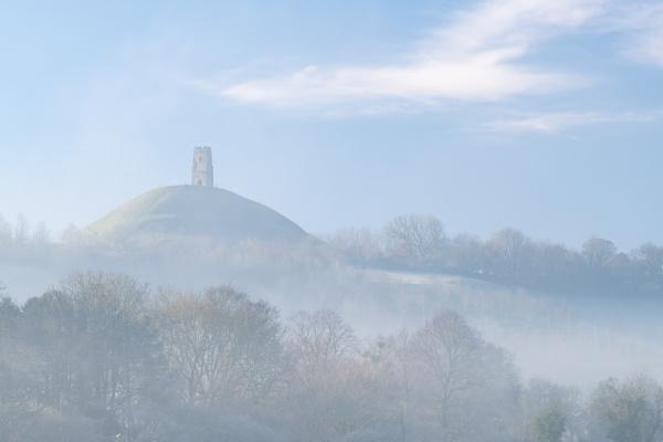 glastonbury tor on a misty winter