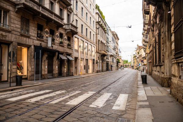 empty streets in the city of