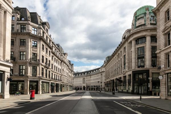 view along an empty regent street