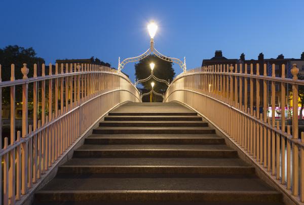 view across an empty hapenny bridge