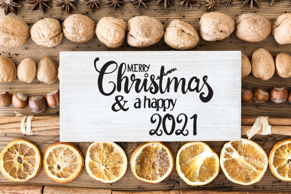 christmas food flat lay label with
