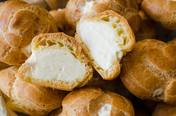 homemade profitroles pastry filled with custard