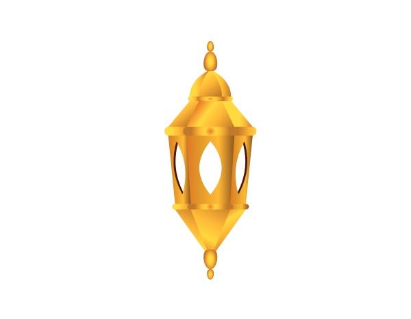 golden islamic lamp and ramadhan kareem