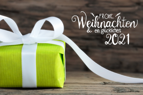one green gift white bow