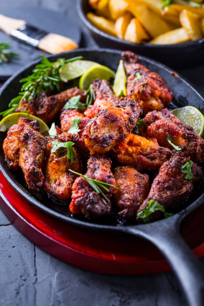 roasted chicken wings in barbecue sauce