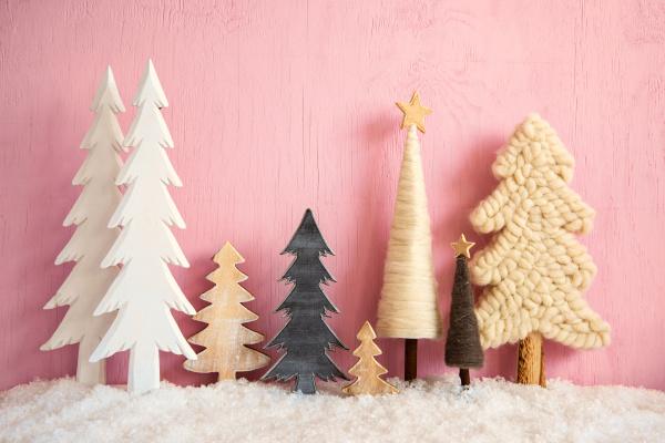 christmas trees snow retro