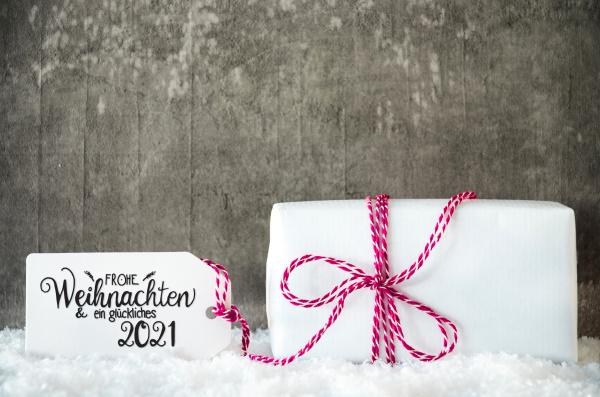 white christmas gift snow label bow
