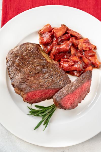 steak rib eye with mushroom stew