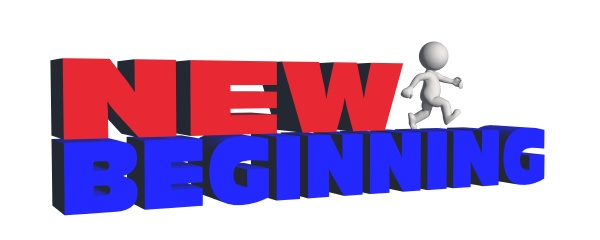 new beginning lettering in red and