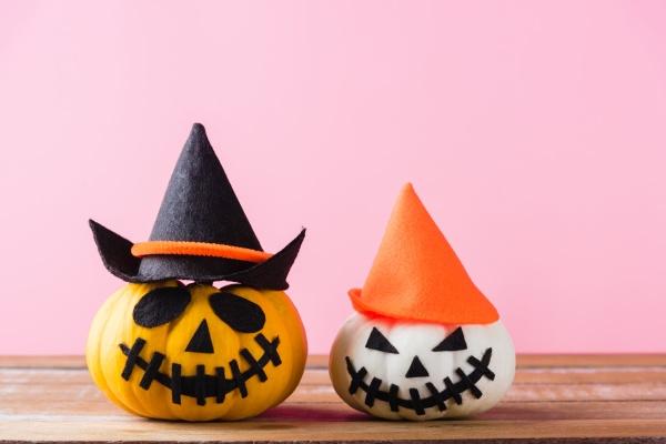 closeup halloween pumpkin head jack o