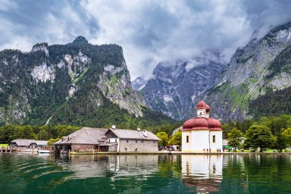 lake koenigssee with pilgrimage church saint