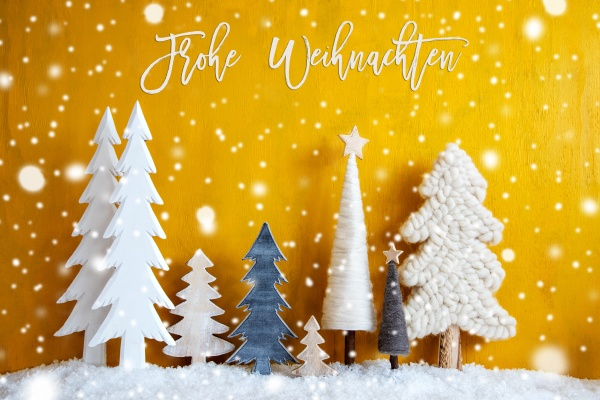 trees snowflakes yellow background frohe weihnachten
