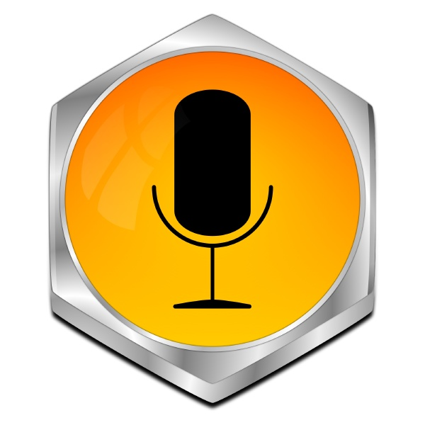 orange button with microphone