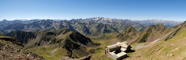 view of french pyrenees mountains with