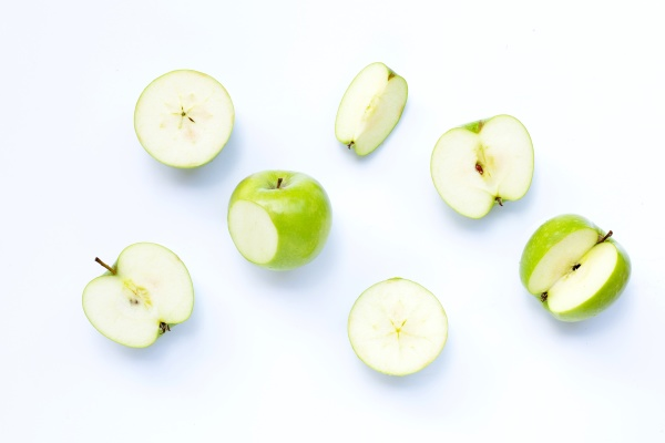 green apples on white background copy