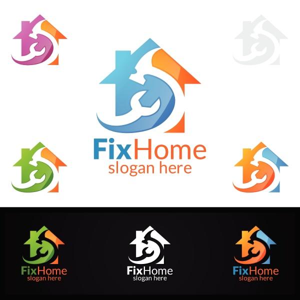 real estate logo fix home