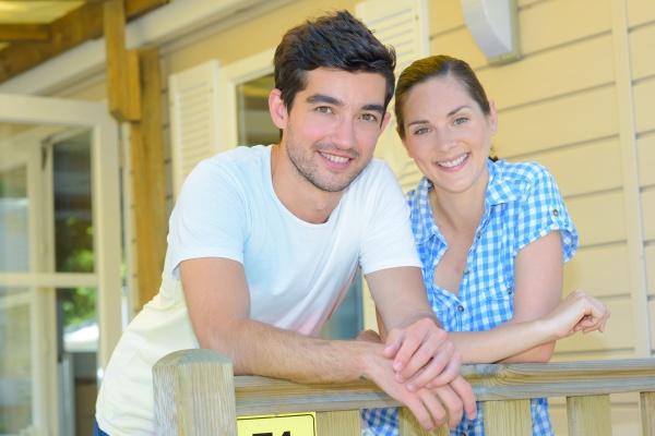 portrait of couple on terrace of