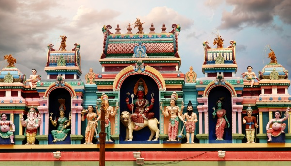 colorful hindu temple reunion island france
