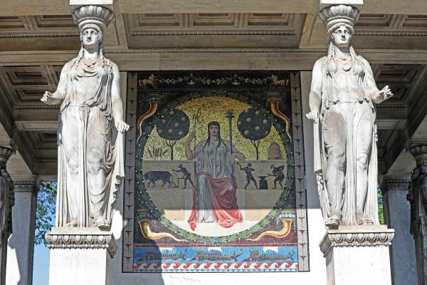 mosaic with two caryatids at the