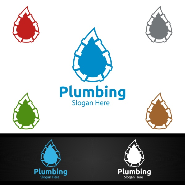plumbing logo with water and fix