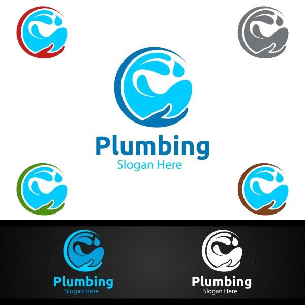 infinity plumbing logo with water and