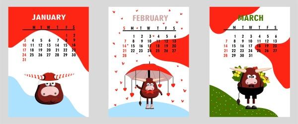 bull white bull calendar or a4