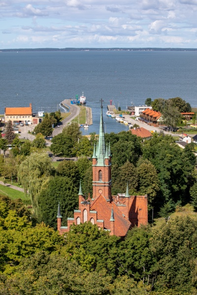 aerial view of frombork and vistula