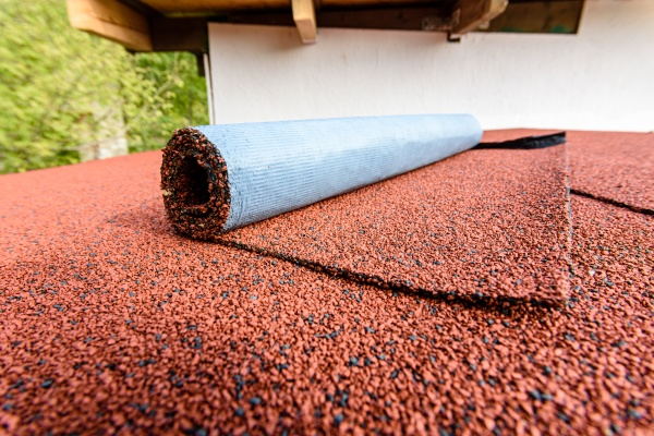 red flexible roll tile on the