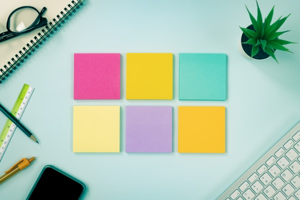 top view 6 color sticky note