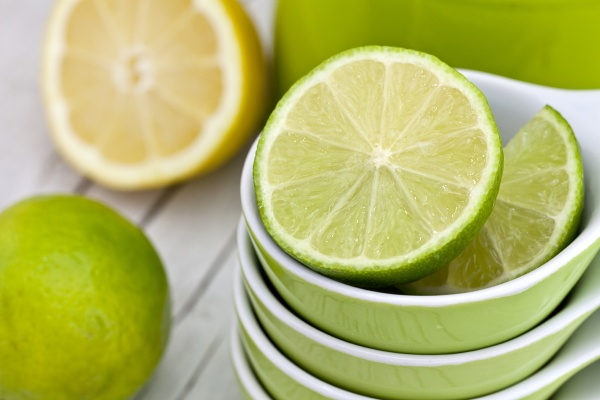 fresh green lemon still life