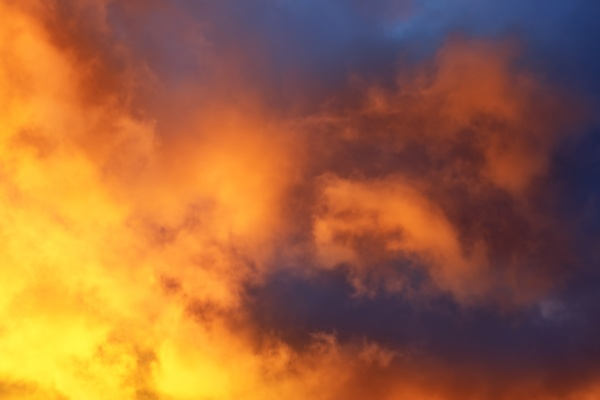 dramatic clouds at dusk