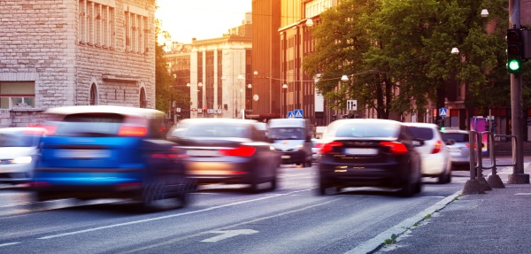 cars moving on the urban road