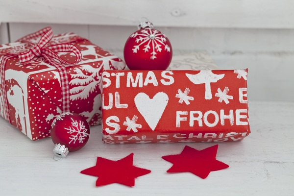 red white christmas gift boxes with