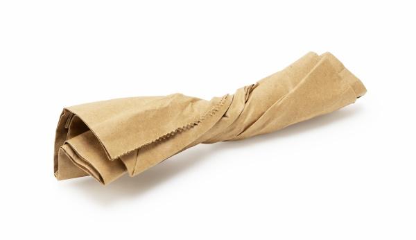 brown paper bag trash placed on