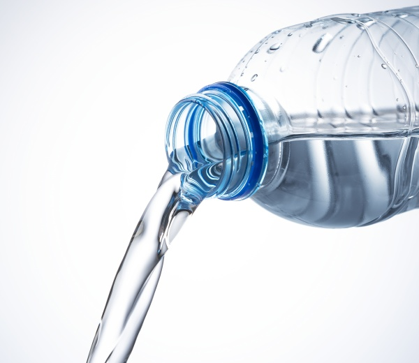 water from a plastic bottle on