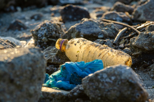 plastic bottle at rock plastic