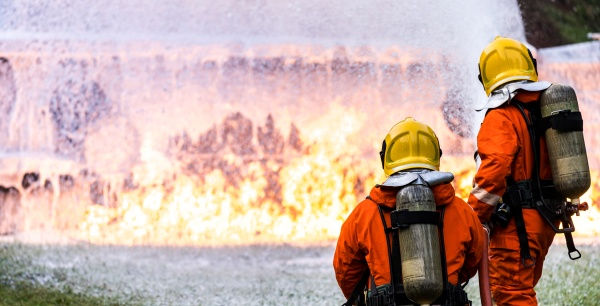 panoramic firefighter using chemical foam