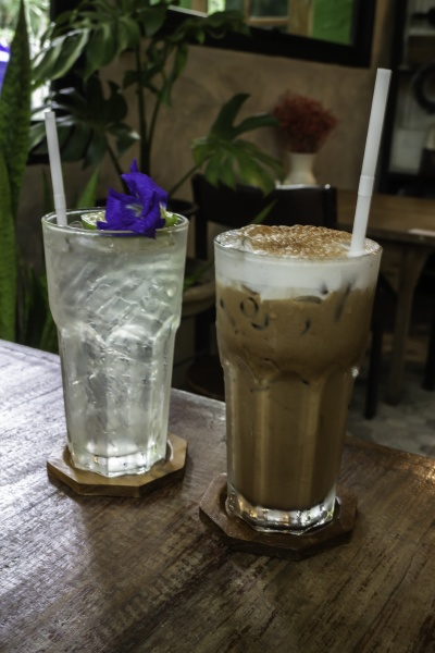 ice cold coffee drink and iced