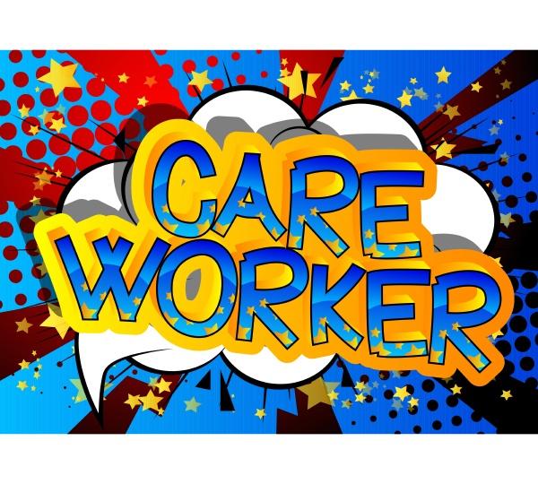 care worker comic book style cartoon