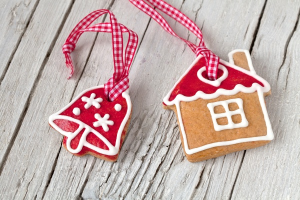 scandinavian style gingerbread ornaments on wood