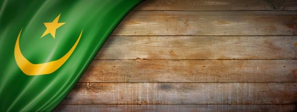 mauritania flag on vintage wood wall