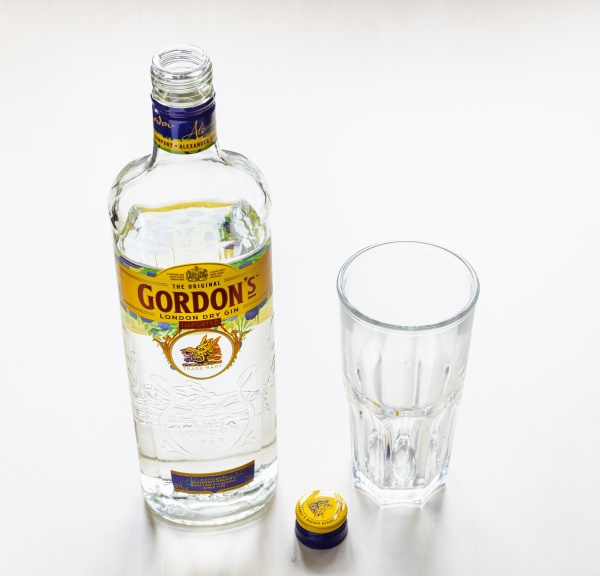 open bottle of gordons london dry