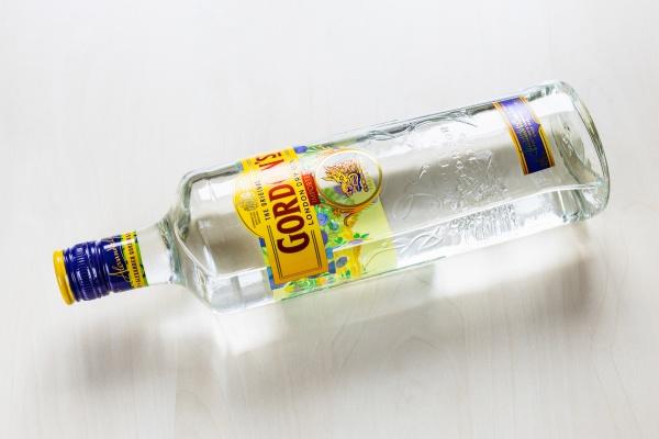 top view lying bottle of gordons