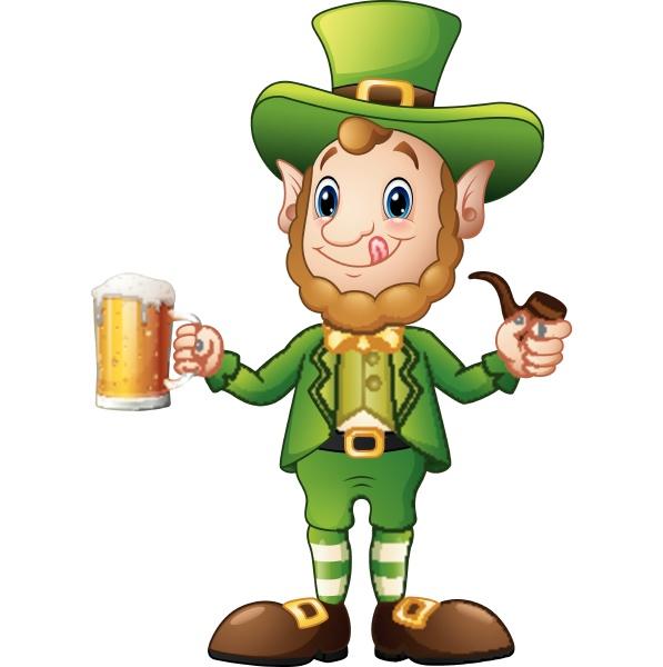 cartoon leprechaun holding a glass of