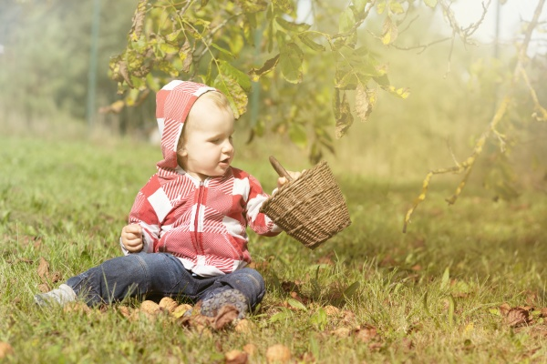 adorable baby boy is holding wicker