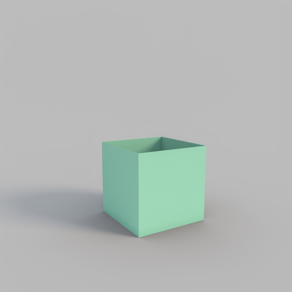 empty green box in cube shape