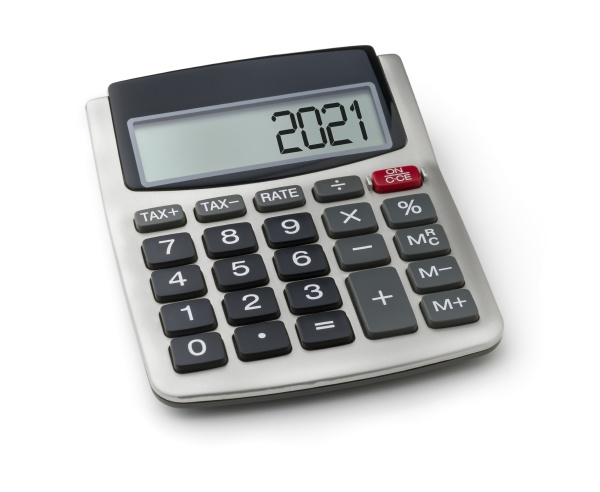 calculator with the word 2021 on