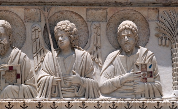 saints and angels baptistery decoration architrave